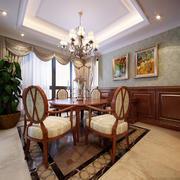 欧式风格三居室室内餐厅窗帘设计装修效果图