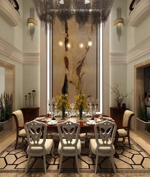 古典欧式风格别墅室内餐厅背景墙装修效果图