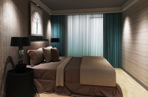 后现代风格卧室窗帘设计装修效果图