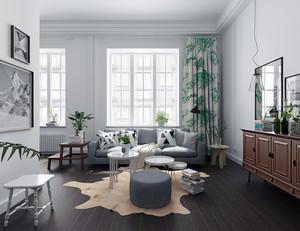欧式田园风格室内窗帘设计装修效果图