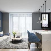 宜家自然风格三居室室内开放式厨房吧台装修效果图