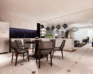 现代简约风格大户型室内客厅餐厅隔断效果图