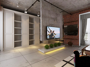 后现代简约风格客厅影视墙设计效果图