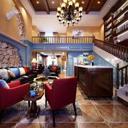 地中海风格别墅室内客厅吊灯装修效果图