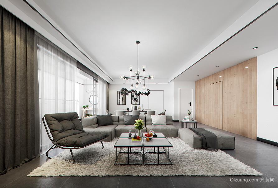 后现代简约风格大户型开放式客厅餐厅一体装修效果图