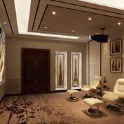 简欧风格两居室室内客厅影视墙效果图