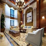 欧式风格别墅室内客厅吊灯图片效果图