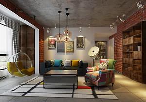 后现代风格两居室室内客厅背景墙挂饰效果图