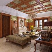 美式乡村风格大户型客厅吊顶天花装修效果图