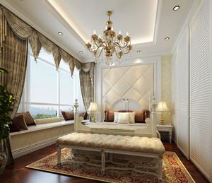 简欧风格大户型主卧室飘窗设计装修效果图