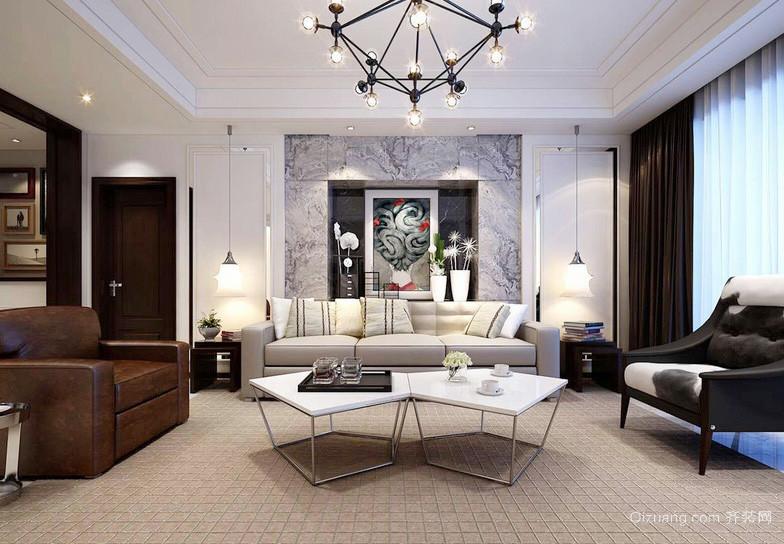 后现代简约风格大户型客厅茶几装修效果图赏析