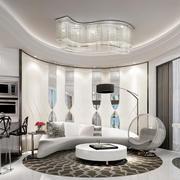 后现代奢华风格客厅吊灯设计装修效果图