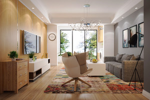 90平米现代简约风格两居室装修效果图赏析