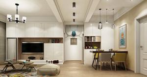 后现代极简主义风格三室两厅一卫装修效果图