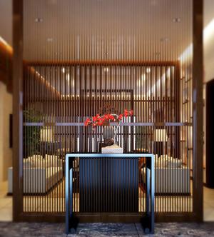 现代中式风格大户型客厅玄关隔断效果图