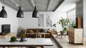 日式简约风格大户型室内客厅餐厅设计装修效果图