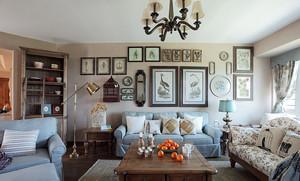 美式田园风格客厅照片墙装修效果图赏析