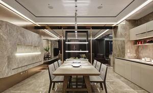 现代中式风格大户型室内客厅餐厅隔断装修效果图
