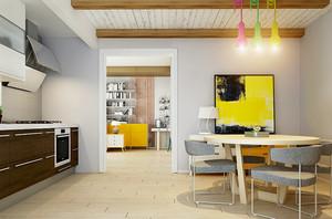 现代简约风格小户型开放式餐厅厨房连体装修效果图