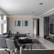 后现代风格三居室室内客厅大理石电视背景墙效果图