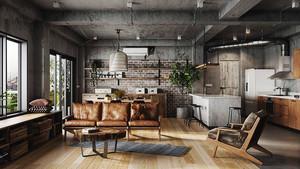 现代工业风格大户型室内装修效果图赏析