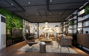 现代loft风格大户型室内客厅装修效果图