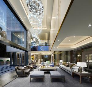 简欧风格别墅室内客厅吊灯设计装修效果图