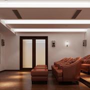 美式乡村风格大户型室内客厅家庭影院装修设计效果图