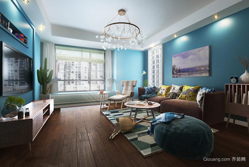 简约地中海风格三居室室内客厅吊灯设计装修效果图
