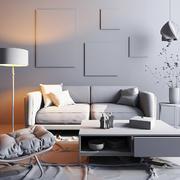 现代简约风格小户型客厅沙发设计装修效果图