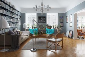 后现代风格大户型室内客厅书架设计装修效果图