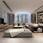 大户型后现代风格客厅大理石电视背景墙装修效果图