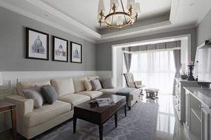 简欧风格三居室室内客厅窗帘设计装修实景图