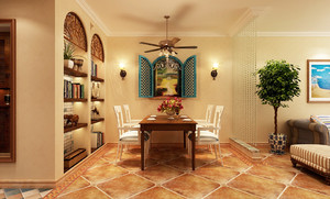 80平米美式田园风格室内设计装修实景图