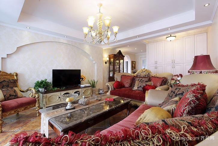 129平米美式乡村风格两室两厅室内装修效果图
