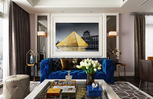 简欧风格两居室室内客厅背景墙装修效果图