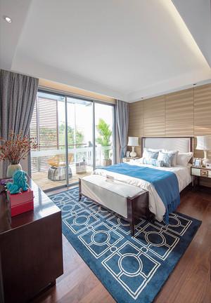 现代中式风格主卧室带阳台装修效果图