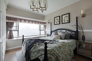 美式田园风格飘窗窗帘设计装修效果图