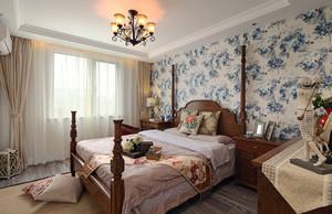 美式田园风格大户型卧室墙纸设计装修效果图