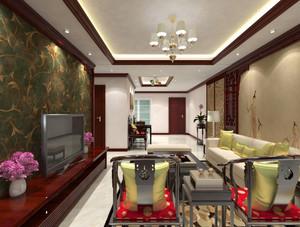 新中式风格大户型室内客厅设计装修效果图