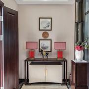 现代中式风格大户型进门玄关鞋柜设计装修效果图