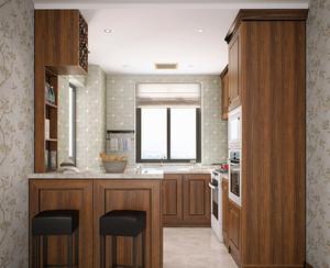 美式乡村风格厨房整体橱柜效果图