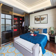 现代中式风格三居室卧室整体衣柜装修效果图
