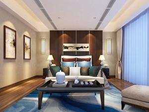 新中式风格大户型室内卧室背景墙装修效果图鉴赏