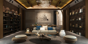 现代中式风格大户型客厅中式博古架装修效果图