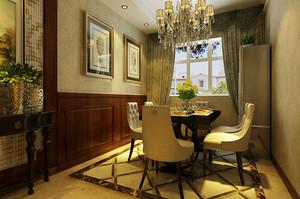 简欧风格大户型室内餐厅窗帘设计装修效果图