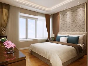现代简约中式风格卧室窗帘设计装修效果图