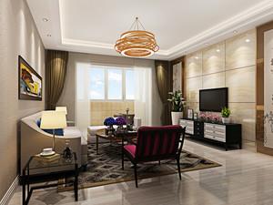 简欧风格两居室室内客厅大理石背景墙装修效果图