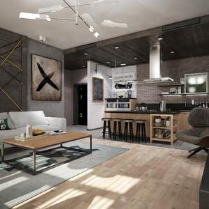 129平米现代工业风格室内装修效果图