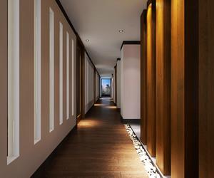 现代中式风格大户型室内走廊过道装修效果图